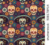 day of the dead. seamless... | Shutterstock .eps vector #508178914