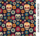 Stock vector day of the dead seamless vector pattern with sugar skulls and flowers on dark background 508178923