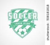 soccer emblem green flat icon... | Shutterstock .eps vector #508181818