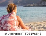 woman relaxing on the sandy... | Shutterstock . vector #508196848