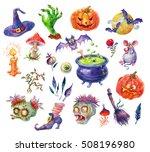 happy halloween watercolor set | Shutterstock . vector #508196980