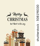 vintage christmas card with...   Shutterstock .eps vector #508198330