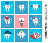 set of funny icons of teeth.... | Shutterstock . vector #508218670