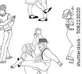 funny cartoon pattern senior... | Shutterstock .eps vector #508223020