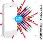 mobile phone icon with trendy... | Shutterstock .eps vector #508223818