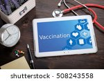 vaccination on screen tablet pc ... | Shutterstock . vector #508243558