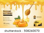 honey lemon throat lozenge  ads ... | Shutterstock .eps vector #508260070