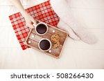 christmas breakfast in bed....   Shutterstock . vector #508266430