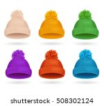 knitted color hat winter set... | Shutterstock .eps vector #508302124