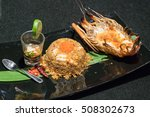 fried rice with shrimp close up.... | Shutterstock . vector #508302673