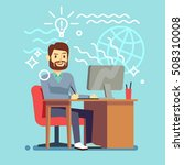 young designer man working at... | Shutterstock .eps vector #508310008