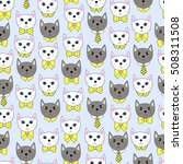 cute cat face with many shape... | Shutterstock .eps vector #508311508