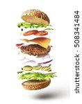 delicious hamburger with flying ... | Shutterstock . vector #508341484