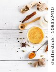 top view image of turmeric... | Shutterstock . vector #508352410