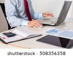 businessman at work in his... | Shutterstock . vector #508356358