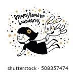 cute little girl and bunny...   Shutterstock .eps vector #508357474
