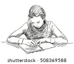 sketch of girl writing in... | Shutterstock .eps vector #508369588