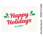 Happy holidays card with mistletoe. Editable vector design.