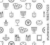 hanukkah seamless pattern.... | Shutterstock .eps vector #508374223