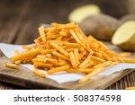 portion of fried potato sticks  ...   Shutterstock . vector #508374598
