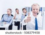 happy client service worker... | Shutterstock . vector #508379458