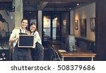couple barista coffee shop... | Shutterstock . vector #508379686