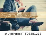 Small photo of Hand writing PLUCKY with the abstract background. The word PLUCKY represent the meaning of word as concept in stock photo.