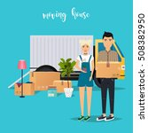 young couple moving. moving... | Shutterstock .eps vector #508382950