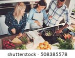 high angle view of trio cooking ... | Shutterstock . vector #508385578