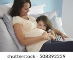 daughter and mom resting in the ... | Shutterstock . vector #508392229