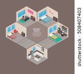 isometric house rooms  home set | Shutterstock .eps vector #508407403