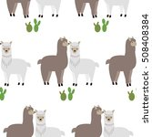 seamless pattern with lamas and ...   Shutterstock .eps vector #508408384