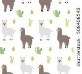 seamless pattern with lamas and ... | Shutterstock .eps vector #508408543