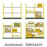 set of racks with boxes in flat ... | Shutterstock .eps vector #508416610