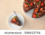 delicious chocolate cake with...   Shutterstock . vector #508423756
