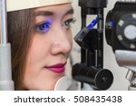 asian woman looking at eye test ... | Shutterstock . vector #508435438
