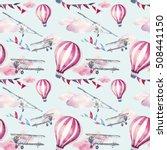 watercolor skydiving seamless...   Shutterstock . vector #508441150