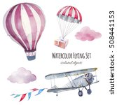 watercolor flying set. hand... | Shutterstock . vector #508441153