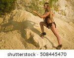 prehistoric woman with a spear... | Shutterstock . vector #508445470