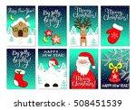 christmas card set with santa... | Shutterstock .eps vector #508451539