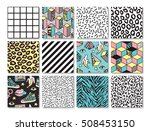 Memphis Seamless Patterns With...
