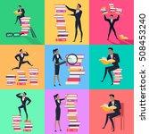 set of reading books concept... | Shutterstock .eps vector #508453240