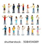 set of people buying and... | Shutterstock .eps vector #508454089