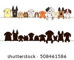 Stock vector big dogs and small dogs border with silhouette 508461586