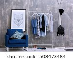 fashionable clothes hanging on... | Shutterstock . vector #508473484