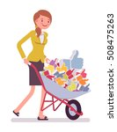 businesswoman pushing a... | Shutterstock .eps vector #508475263