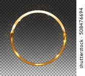Golden Shiny Circle Frame On...