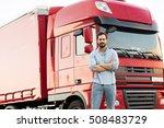 handsome masculine truck driver ... | Shutterstock . vector #508483729