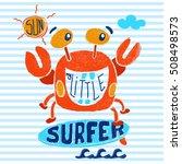 Cute Crab Surfer  Vector Print...