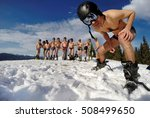 skiers posing in underwear in... | Shutterstock . vector #508499650